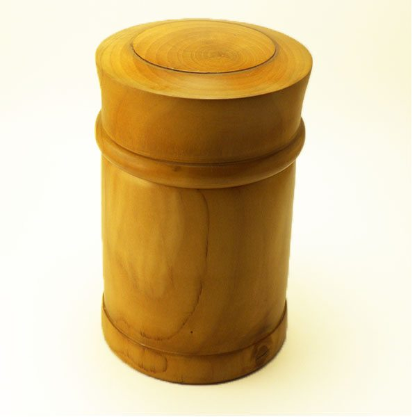 Large turned wooden box in pear wood