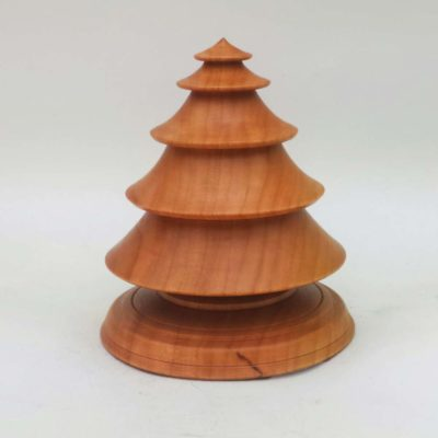 Hand turned wooden Christmas tree in Cherry Wood