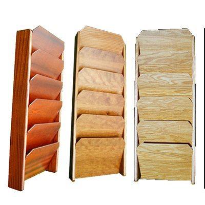 Wall mounted wood file rack